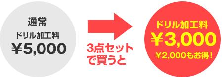 ドリル加工料¥3,000¥2,000もお得!