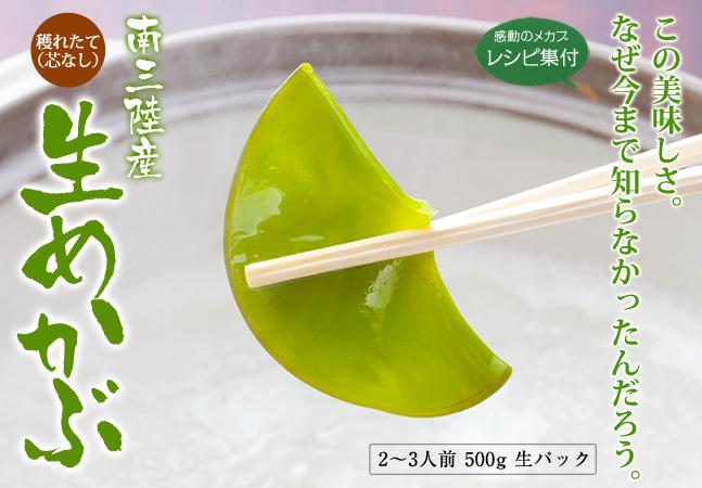 三陸産「感動の生めかぶ」500gパック(2~3人前) 《クール冷蔵発送》